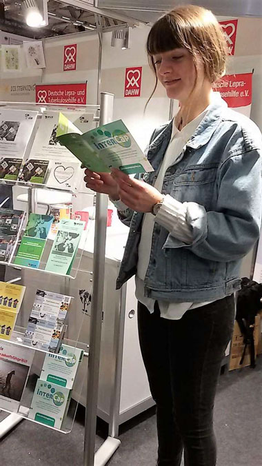 Julia Westphal at the Stand of WUS Germany
